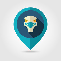 Ostrich flat pin map icon. Animal head vector