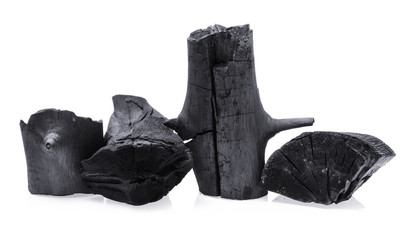 Natural wood charcoal Isolated on white, traditional charcoal or