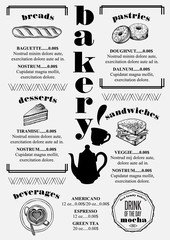 Menu bakery restaurant, food template placemat.
