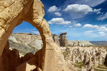 Amazing rocky landscape in Cappadocia, Turkey