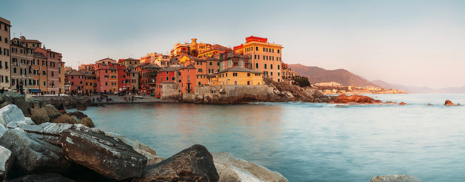 Sunset in Boccadasse bay, Italy, Genoa panorame image