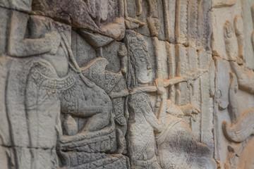 Ancient Khmer carving of Krishna, Angkor, Cambodia