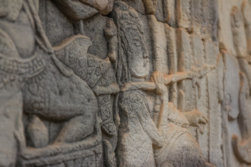 Ancient Khmer carving of Krishna, Angkor, Cambodia