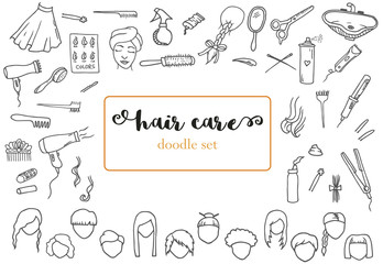 Hand-drawn doodles set of the different hair care drawings. Instruments and equipment for the hair in the beauty salon. Line art kit