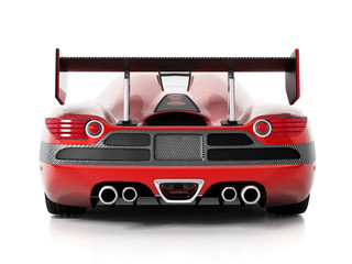 Red race car with carbon fiber spoiler. 3D illustration