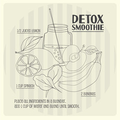Detox smoothie recipe. Vector hand-drawn illustration
