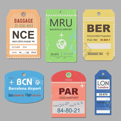 Vintage travel luggage tags vector. Retro baggage tag illustration.