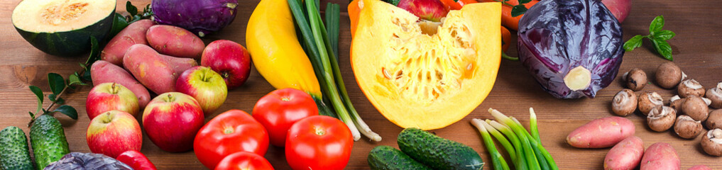 Vegetables and fruits background. Healthy food concept.