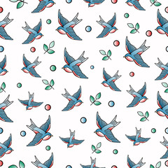 Old school tattoo vector seamless pattern with swallows.