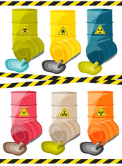 Toxic chemicals leak out of the container with the sign dangerous. Vector