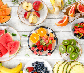 Fresh mixed fruits. Healthy diet eating. Fruit background.