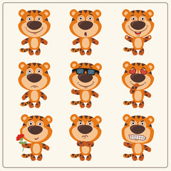 Vector set isolated emotion tiger. Collection cute tiger in cartoon style.