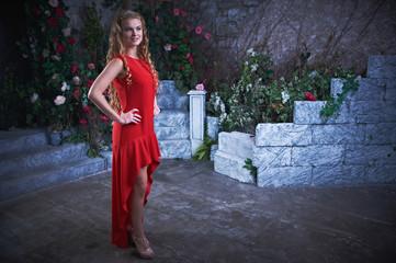 Young Beautiful Girl in Mystical Garden