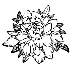 Abstract flower, black and white bud  leaves, monochrome. Sketch of tattoo, print, coloring book, doodle, decorative element. Hand-drawing, vector retro illustration