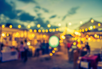 blur image of night festival on street blurred background with b
