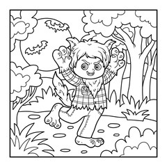 Coloring book for children, Werewolf