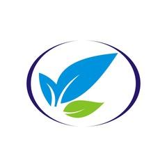 Environmental icon with plant logo