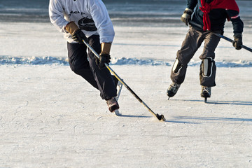 People playing amateur hockey
