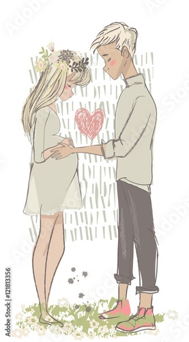 cute cartoon couple with pregnant woman stock image and. Black Bedroom Furniture Sets. Home Design Ideas