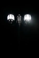 Outdoor lamp lighting in dark night time