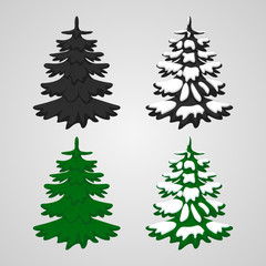 vector illustration. Set icons of Christmas trees, green, monochrome, with snow.
