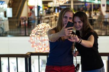 Girls make selfie