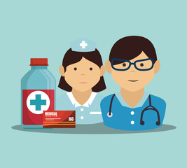 man medical doctor and woman nurse cartoon with medicine icon set. vector illustration