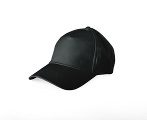 Black Baseball Cap on white background.