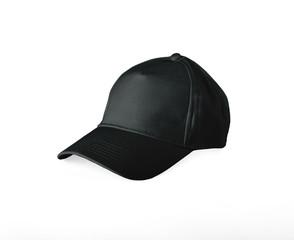 Black Baseball Cap on white background.