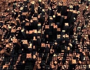 3D model of city.3D rendering illustration.Top view.