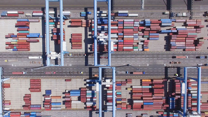 Commercial port with containers - Aerial photo
