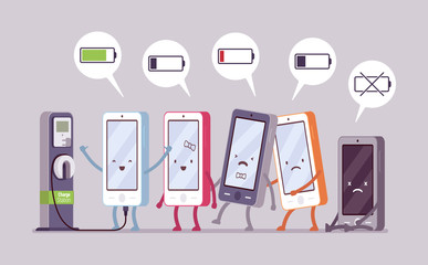 Smartphones are charging near the station in a line, battery status in a cloude. Cartoon vector flat-style concept illustration