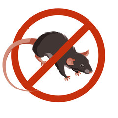 Rat forbidden sign icon