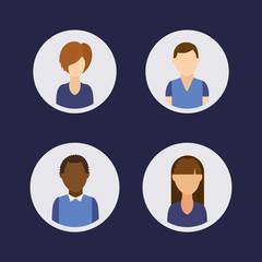people avatars community group vector illustration design