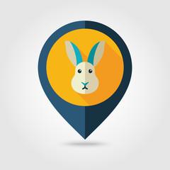 Rabbit flat pin map icon. Animal head vector