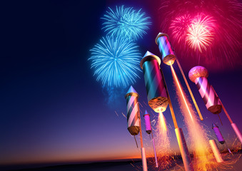 Firework rockets launching into the night sky.  Fireworks event background. 3D illustration.
