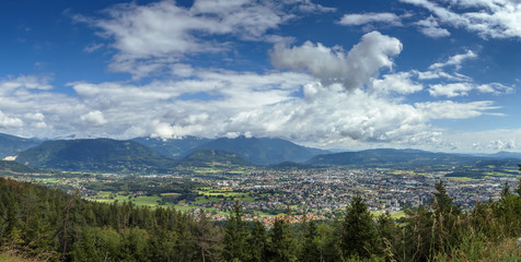view of Villach from mountain, Austria