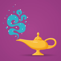 Magic Aladdin lamp vector illustration