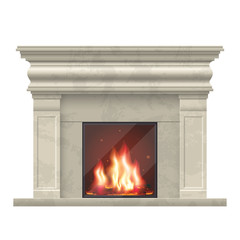 Vector classic fireplace for living room interior