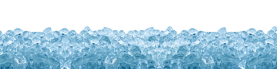 crushed ice cube blue background isolated on white  Wall mural