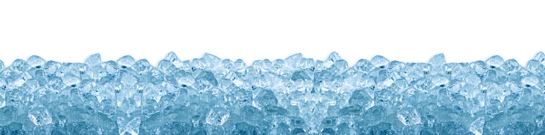 crushed ice cube blue background isolated on white