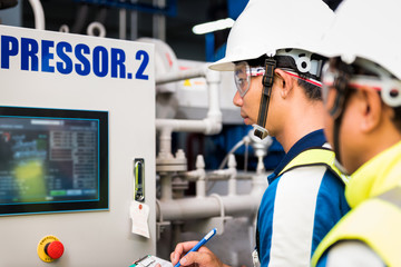 Mechanical inspector and training recording to operation monitor of compressor in the plant for production process, routine daily record.