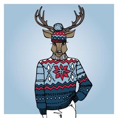 Cartoon deer in Jacquard hat ,sweater.Winter fashion