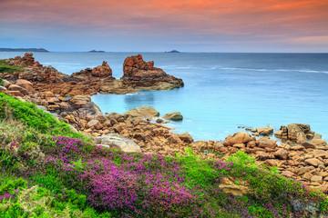 Atlantic ocean coast in Brittany region,Ploumanach,France,Europe