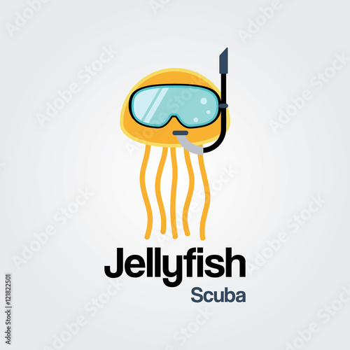 Jellyfish Scuba Logo Template Wearing Diving Mask In Flat Design For And