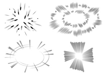 Four vector illustrated comic book style explosions on white background.