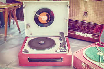 Retro styled image of an old record player