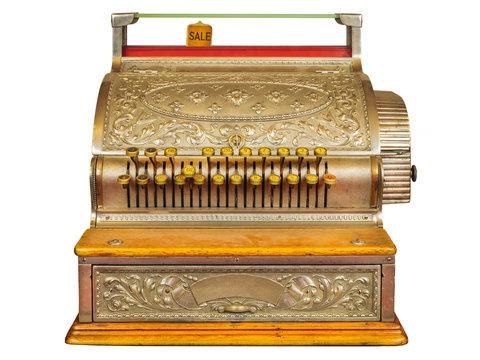 Vintage cash register isolated on white