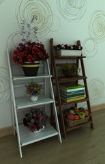 3d illustration of shelves with flowers and books. with wooden floor and wall. Background for web site.
