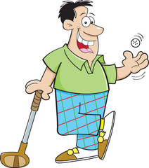 Cartoon illustration of a man playing golf.